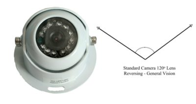 Vehicle camera for caravans and commercial vehicles 120 degree view