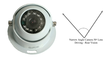 Vehicle camera for caravans and commercial vehicles 50 degree view