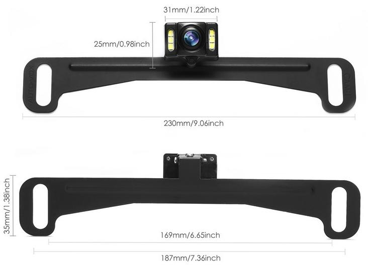 CH NPC170 Dimensions of number plate mounted camera